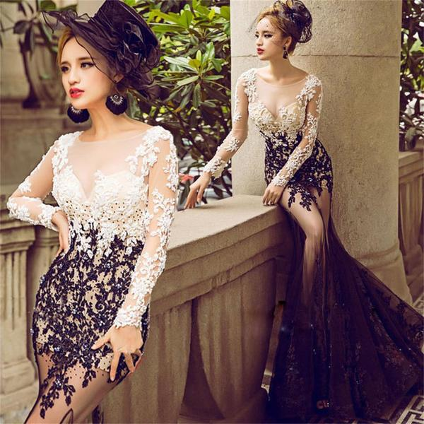 Ulass 2017 long mermaid lace long sleeves cheap elegant prom dress ,charming wedding party dress