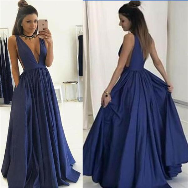 Ulass 2017 Long deep v neck sexy Prom Dress, popular gowns Party Dress