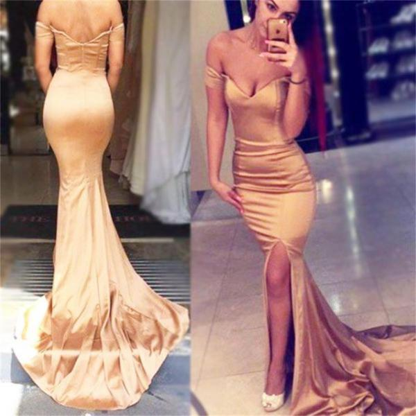 Ulass Cheap Fashion Elegant Off Shoulder Mermaid Prom Dresses, Evening Dress
