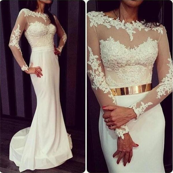 Ulass Newest White Long Sleeves Formal Sexy Charming Open Back Prom Dresses Online