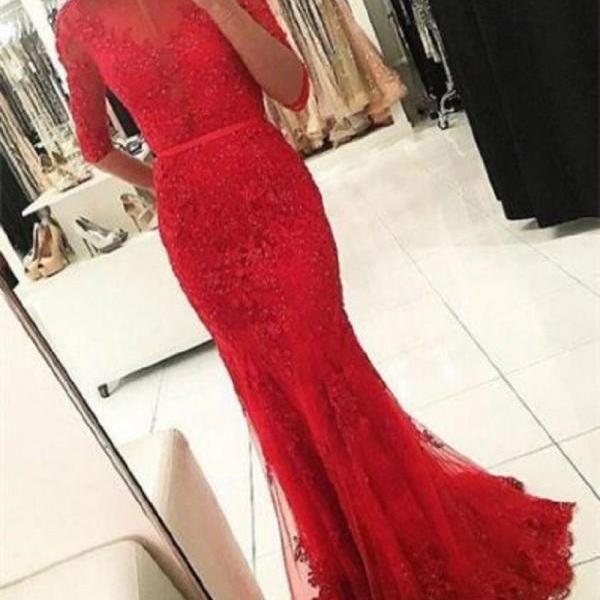 Ulass Mermaid Bateau Half Sleeves Backless Red Prom Dress with Beading Appliques
