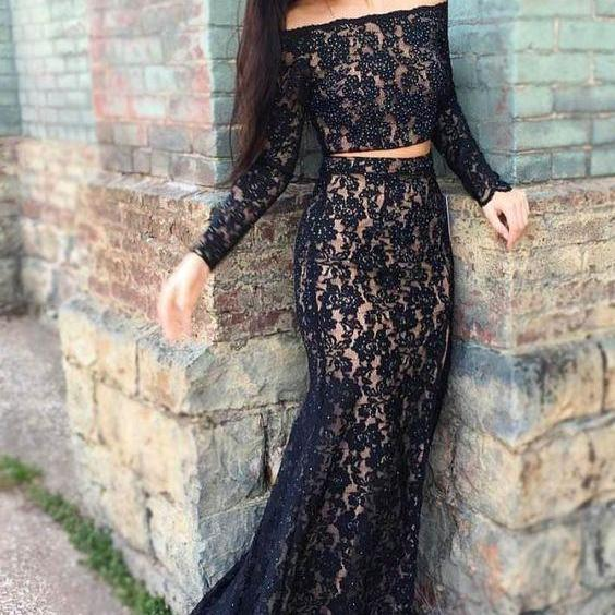 Ulass Two Piece Mermaid Strapless Black Lace Prom Dress with Beading Party Dresses Graduation Dress Prom Gowns