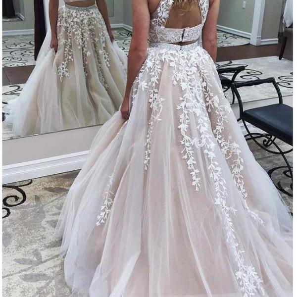 Ulass Two Pieces Lace Crop Top Prom Dresses, High Neck Prom Gowns, Lace Appliques Tulle Prom Dresses 2018, A-line Long Prom Evening Dress, Senior Prom Dresses