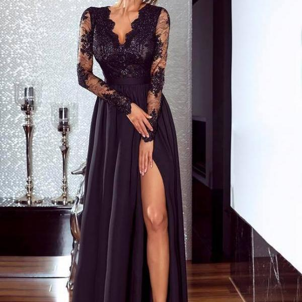 Ulass Elegant Black Lace Prom Dress,Long Sleeve Prom Dresses,Chiffon Prom Dresses, Sexy Black Evening Dress, Woman Evening Dresses,Prom Gowns, Formal Women Dresst works