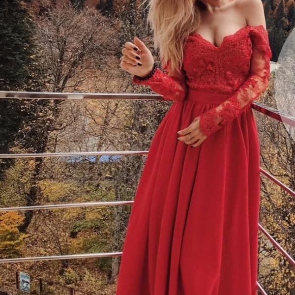 Ulass Elegant Red Lace Prom Dress,Long Sleeve Prom Dresses,Chiffon Prom Dresses, Sexy Red Evening Dress, Woman Evening Dresses,Prom Gowns, Formal Women Dress