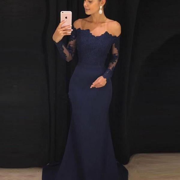 Ulass Off the Shoulder Navy Mermaid Prom Dresses with Long Sleeves,Sweep Train Lace Prom Dress