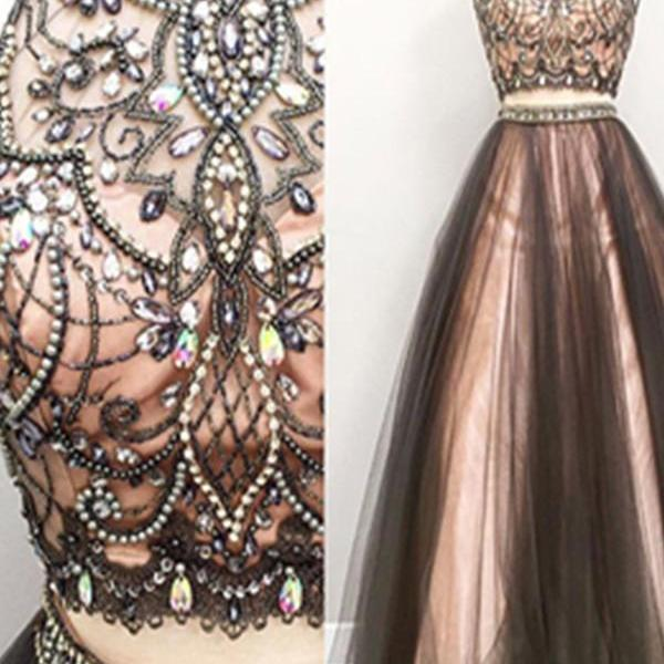 Two Pieces Prom Dresses,A-line Tulle Prom Gowns,Halter Beading 2018 Evening Dresses,Beautiful Party Dresses,Cute Dresses