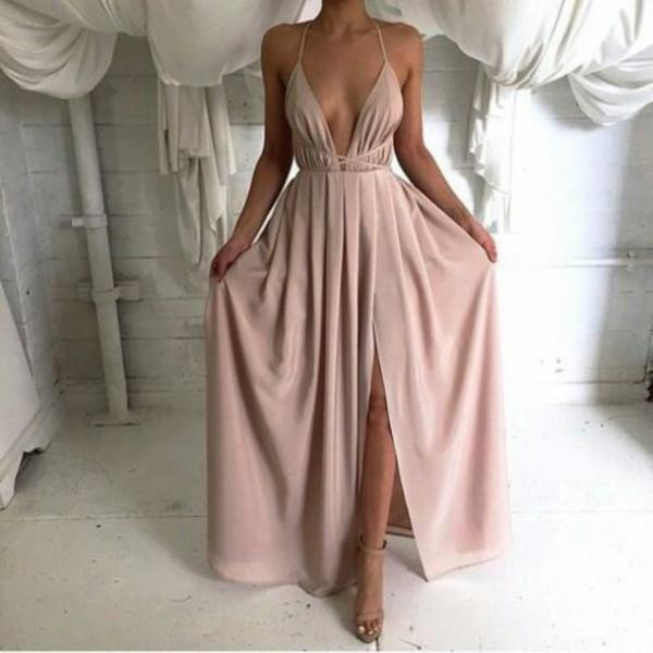 sexy backless prom dress, long prom dress, simple prom dress, cheap prom dress, dusty pink prom dress, prom dresses discount