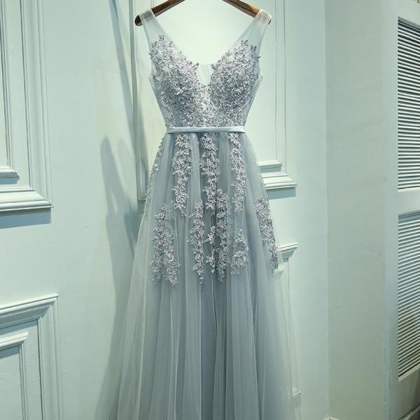 Charming A-Line V-Neck Sleeveless Long Prom Dress with Appliques