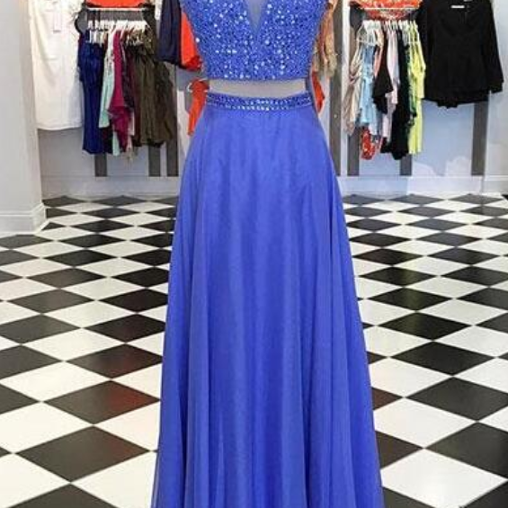 Ulass Two-Piece Beading Prom Dress,V-Neck Blue Prom Dress,Long prom Dress