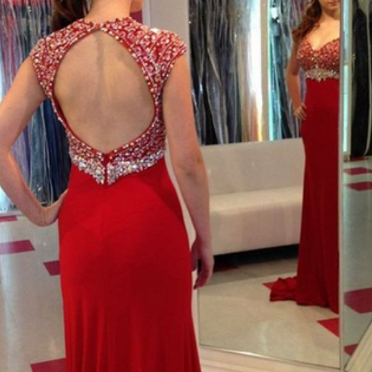 Ulass Mermaid Round Neck Prom Dress,Open Back Red Prom Dress with Beading, modest red Evening Dresses