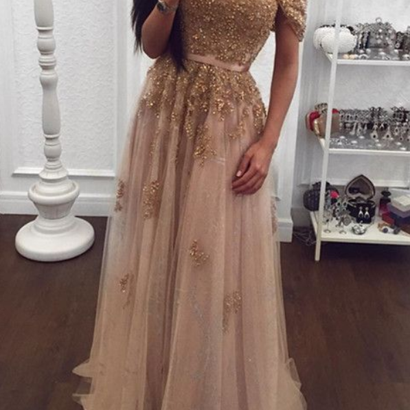Gold Lace Beaded Sweetheart Tulle Prom Dresses Off-the-shoulder Evening Gowns