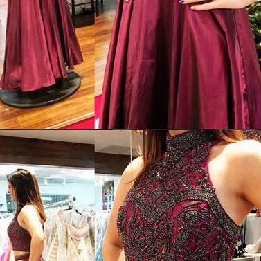red prom dresses,long prom dress,two-piece prom dress,evening dresses