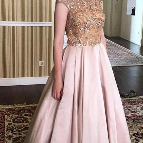 elegant bateau pink satin prom dress with beading, chic bateauu pink satin party dress with beading