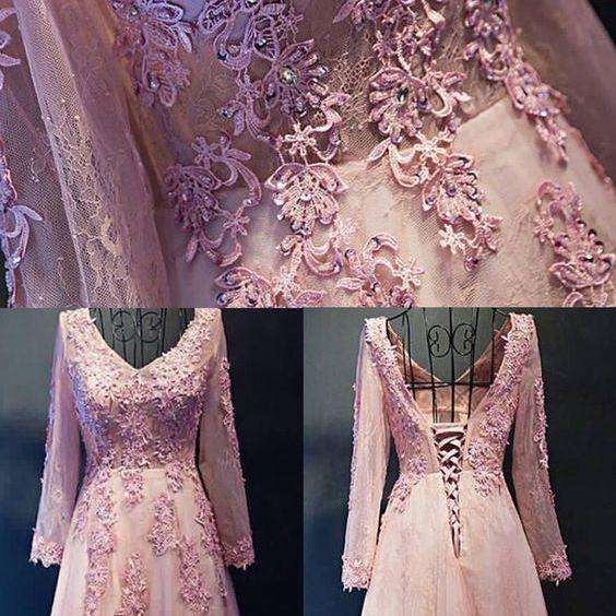 Long Sleeve Lace , Tulle P, Lace Long Sleeve , Hot Pink Prom Dresses, Long Sleeve , Hot Pink , Long Sleeve Lace