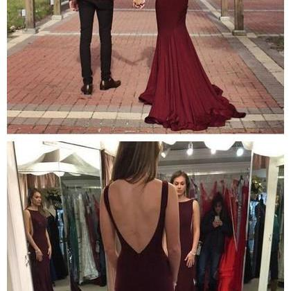 New Arrival Prom Dress,long prom dress,sexy mermaid prom gowns,burgundy evening dress