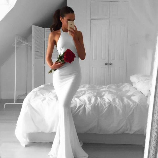 white prom dress,long mermaid dress,white evening dresses,long evening gowns,sexy backless prom dress,prom dress