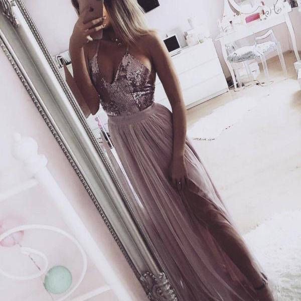 Spaghetti Strap V Neck Silver Prom Dresses with Slit Cheap Sexy Formal Dress