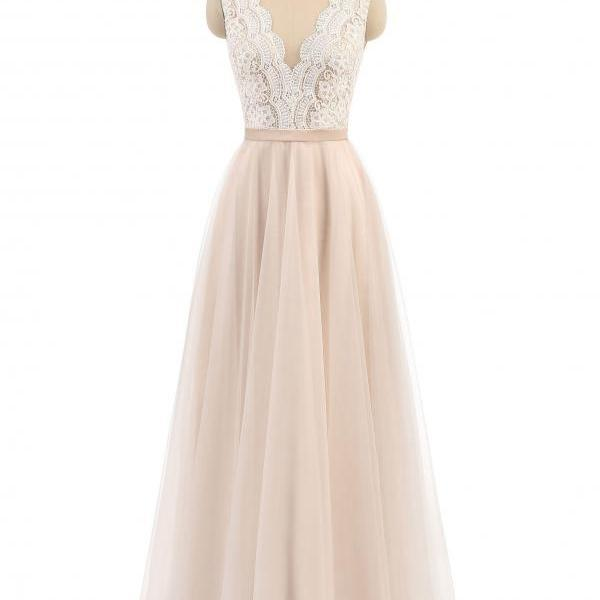 A-line Lace and Tulle Long Simple Formal Dresses Bridesmaid Dresses