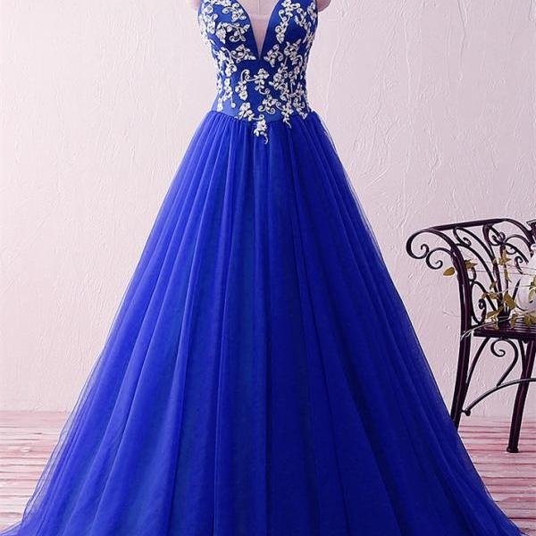 Royal Blue Sweetheart Appliques Beaded Evening Dresses Ball Gowns Floor Length 2019 Vintage