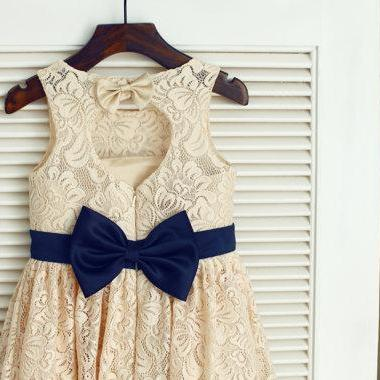 Ulass Champagne Lace Navy Blue Sash Bow Keyhole Backless Open back Flower Girl Dress Children Toddler Dress for Wedding Junior Bridesmaid Dress