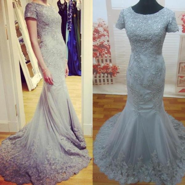 Ulass Real Image Cheap Mermaid Evening Dresses With Short leeves Crystal Green Formal Lace Prom Party Dress 2015 Sexy Modest Long Celebrity Gowns