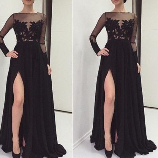 Ulass2016 Sexy Black Appliques Prom Dresses O-Neck Prom Dresses Real Made Prom Dresses Chiffon Prom Dresses