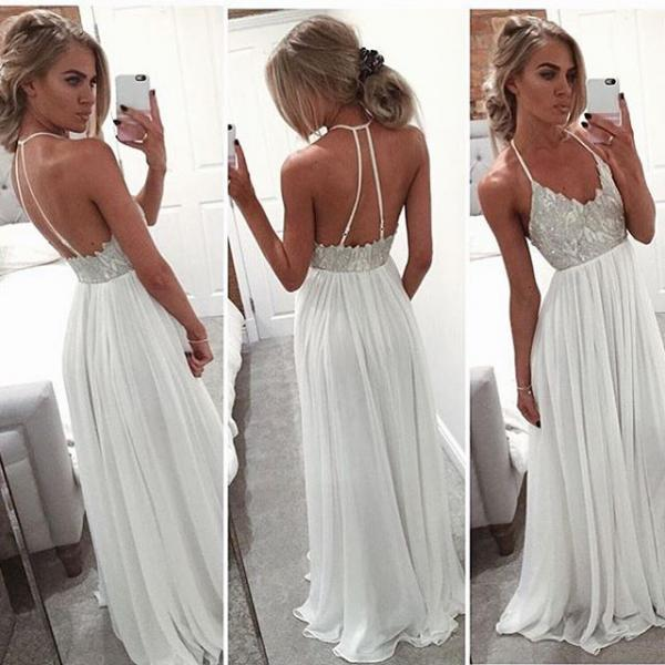Ulass Hot Evening Dress Custom Made White Halter Long Prom Dress Evening Dress 2016