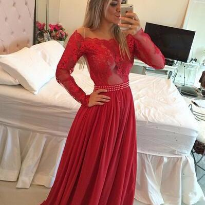 Ulass2016 Long Sleeves Prom Dresses Chiffon Pearls Beaded Red Fuchsia Sheer A-line Evening Gowns