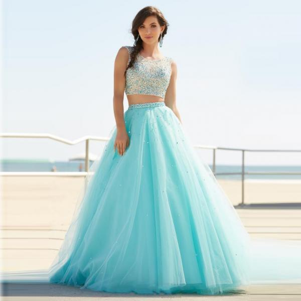 Ulass Gorgeous New 2 Pieces Prom Dresses 2016 O-Neck Sleeveless A-Line Court Train Beading Tulle Long Evening Dress Robe de soiree