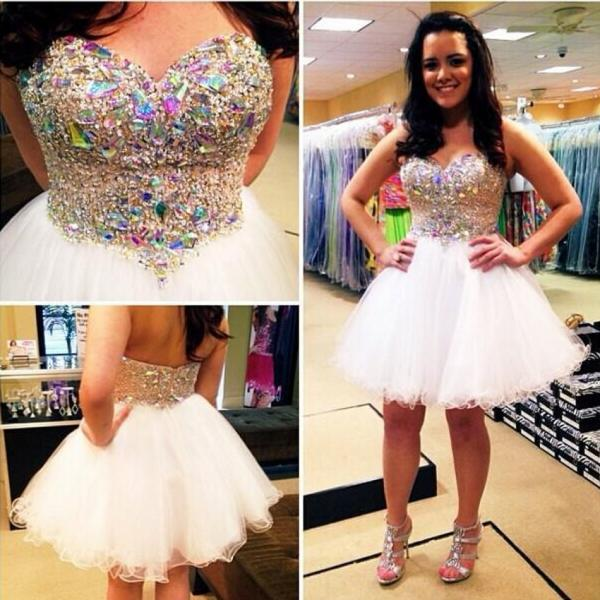 Ulass Sexy White Glitter Beaded Crystal Short Prom Dresses 2016 Crystal Homecoming Dresses