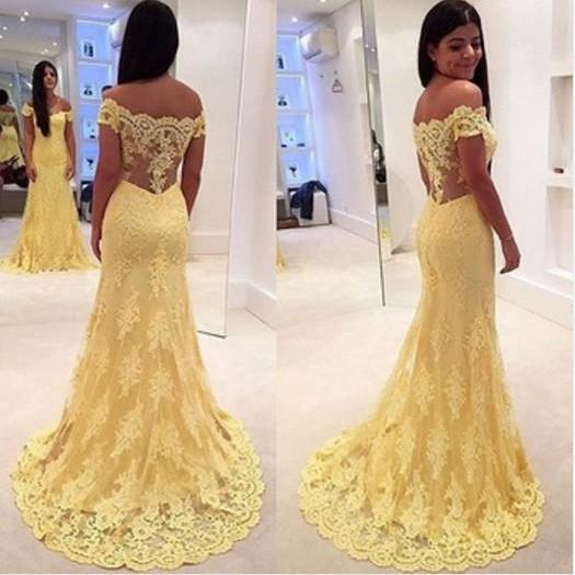 Ulass Mermaid Prom Dress 2016 Yellow Off the Shoulder Sleeveless Trumpet with Appliques Lace Tulle vestido formatura Evening Dress