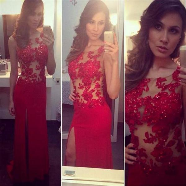 Ulass 2016 New Design Long Red Fitted Prom Dress Sexy High Slit Women Pageant Gowns Lace Appliques Bodice Cheap Dresses