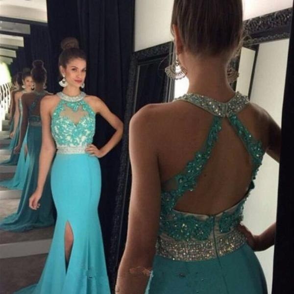 Ulass 2016 Sexy Backless Two Piece Prom Dresses Beaded Halter High Slit Mermaid Prom Gown vestido de festa
