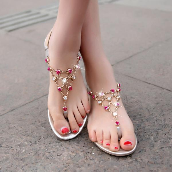 Ulass Rhinestone leather sandals