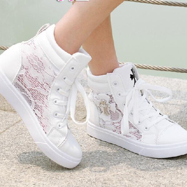 Casual Lace High Top Sneaker with Cross Embellishment