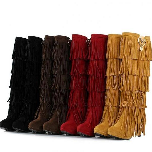 Pointed-toe Layered Fringe Knee-high Snow Boots