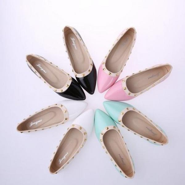 Pastel Coloured Pointed Toe Studded Ballerina Flats