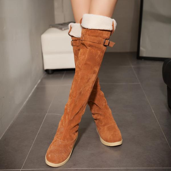 ... Ulass 3 Colors Scrub Winter Boots Over The Knee Flat Heel Round Toe  Buckle Fur Boots ...