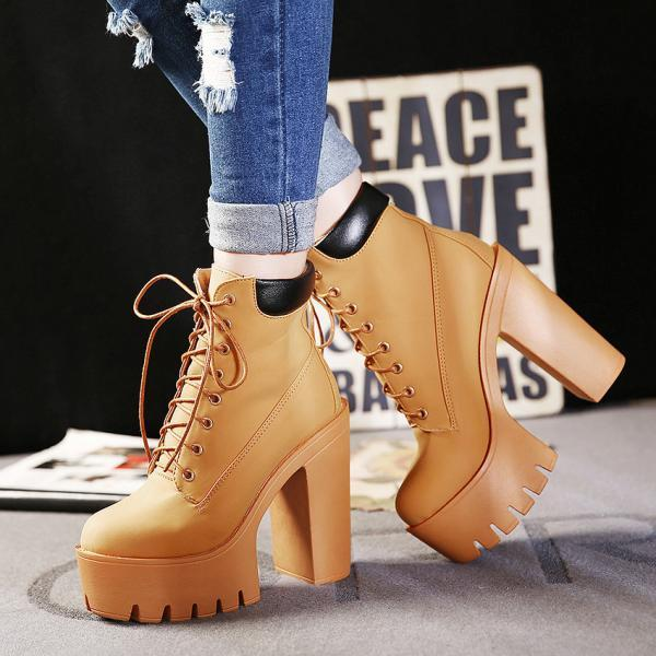 Ulass Fashion Autumn And Winter Platform Ankle Boots Women Lace Up Thick Heel Martin Boots Ladies Worker Boots Black Size 35-39