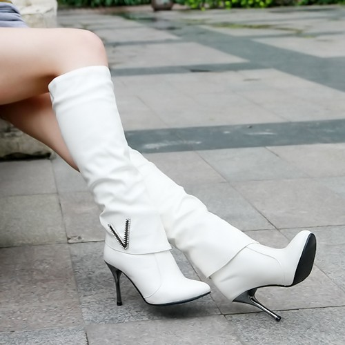 Ulass Women Boots Knee HIgh Boots Shoes Ladies Thin High Heels PU patent Leather Boots White Black