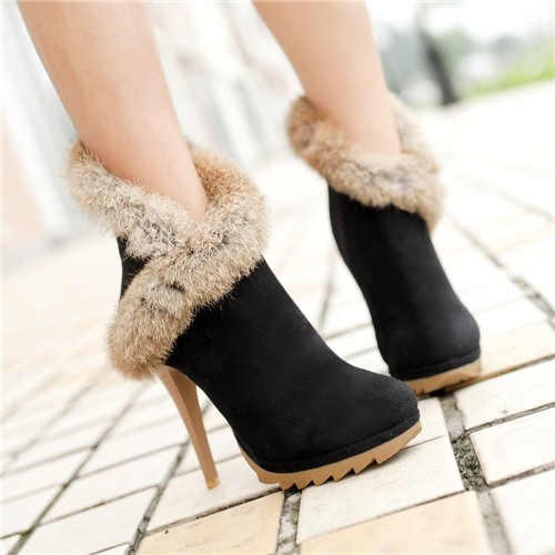 Ulass Women Boots Platform High Heels Winter Boots Ladies Shoes Sexy Stiletto Ankle Boots with Fur Shoes Black Green Small Size 34-39