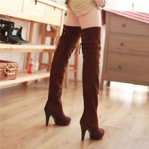 Ulass hoes Women Boots Thigh High Boots Over The Knee Boots Platform Thick High Heels Boots Ladies Shoes Lace Up Brown