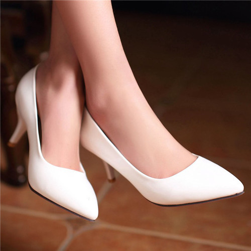 Ulass The new tide in spring and autumn shoes pointed shallow mouth with a fine set of feet Sexy Heels elegant white women shoes WRGHH5