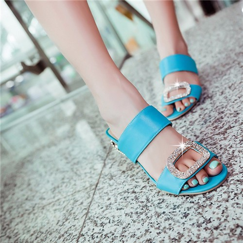 Ulass Women Sandals 2016 Ladies Summer Slippers Shoes Women Low Heels Sandals Large Size 9 10 Fashion Orange Rhinestone Shoes Yellow MCHL4