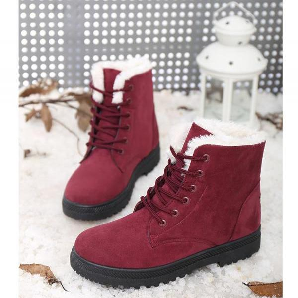 Ulass Snow boots winter ankle boots for women shoes plus velvet plat shoes 2016 hot heels boots fashion shoes ST-076