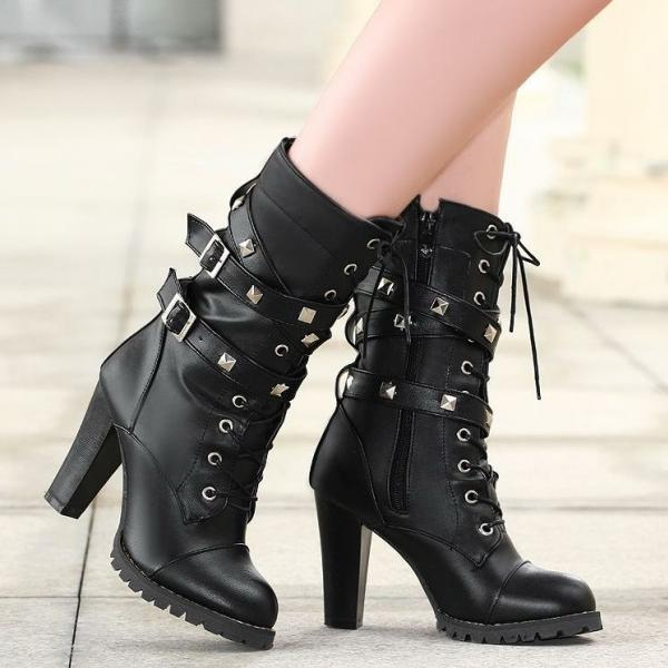 Ulass Ladies shoes Women boots High heels Platform Buckle Zipper Rivets Sapatos femininos Lace up Leather boots PU Fashion New ST-038