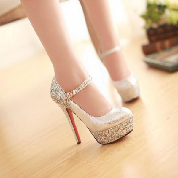 Ulass Silver ,Black,Gold Glitter High Heels