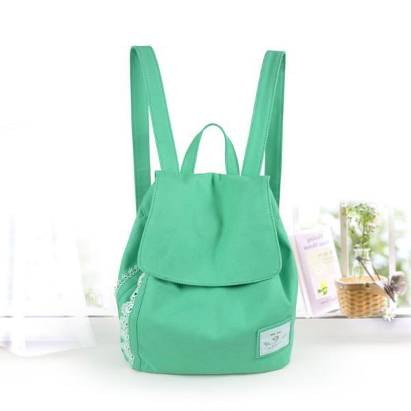 Ulass Fashion Green Bow Lace Denim Canvas Backpack BB-33