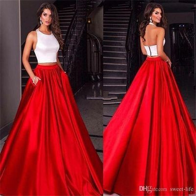 Ulass 2017 Hot Prom Dress A-line Two Pieces White and Red 2 Pieces Satin Long Prom Dresses Party Dress Cheap